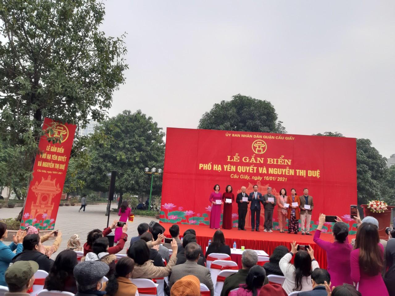 Hà Nội gắn biển tên phố Hạ Yên Quyết và Nguyễn Thị Duệ