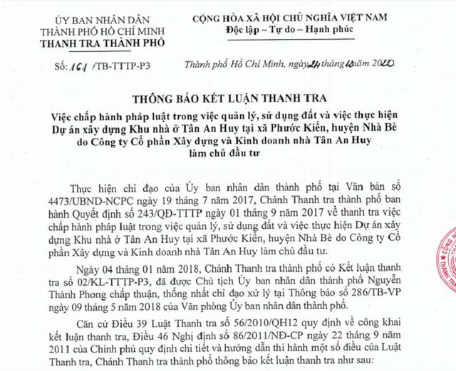 Thanh tra TPHCM ''khui'' hàng loạt sai phạm của khu nhà ở Tân An Huy
